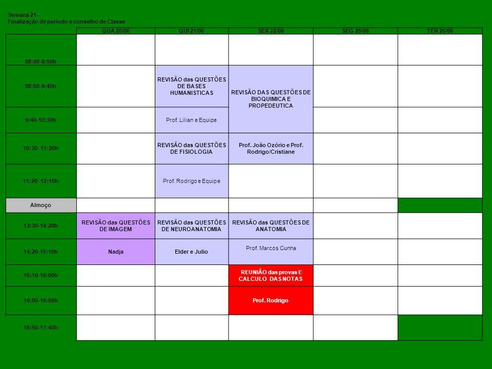 Finalização de período e conselho de Classe QUA 20/06 QUI 21/06