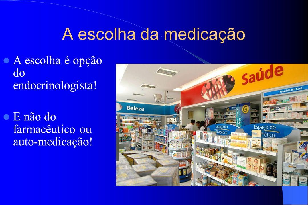 A escolha da medicação A escolha é opção do endocrinologista!