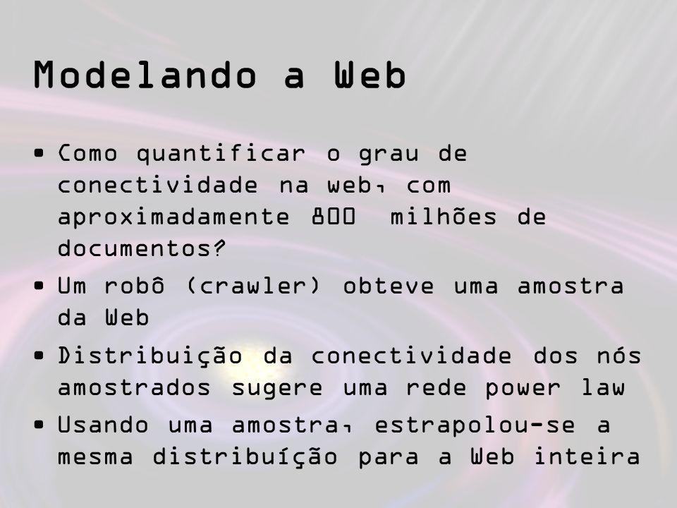 Modelando a Web Como quantificar o grau de conectividade na web, com aproximadamente 800 milhões de documentos