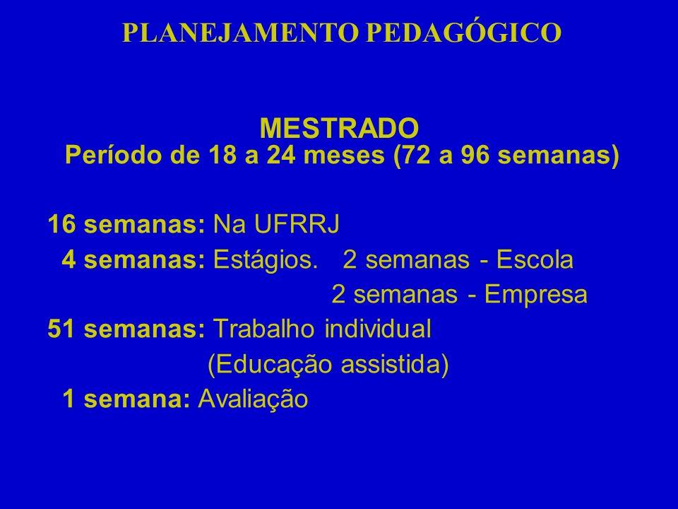 PLANEJAMENTO PEDAGÓGICO Período de 18 a 24 meses (72 a 96 semanas)