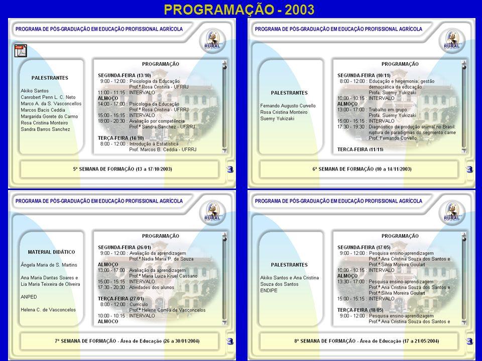PROGRAMAÇÃO - 2003