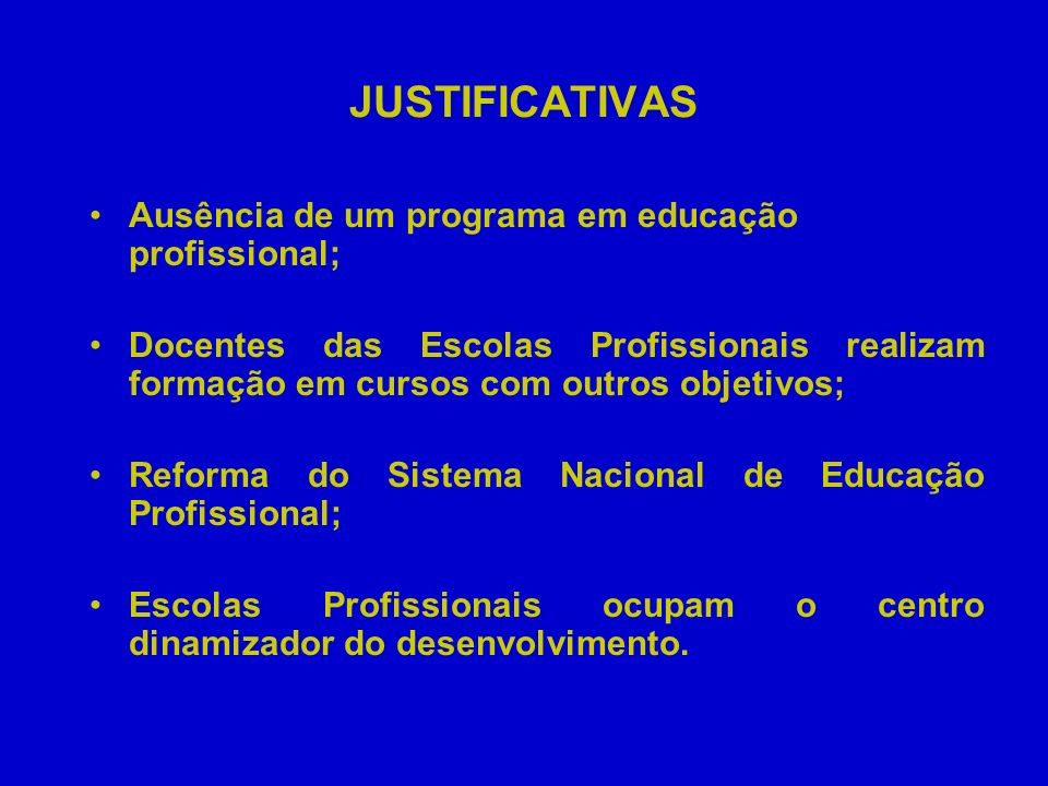 JUSTIFICATIVAS Ausência de um programa em educação profissional;