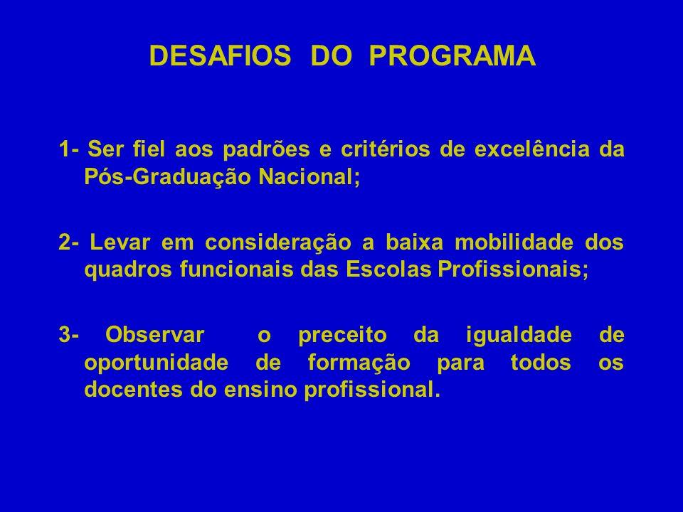 DESAFIOS DO PROGRAMA 1- Ser fiel aos padrões e critérios de excelência da Pós-Graduação Nacional;