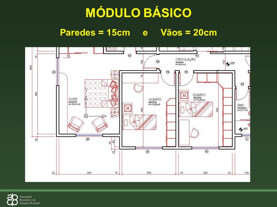 MÓDULO BÁSICO Paredes = 15cm e Vãos = 20cm