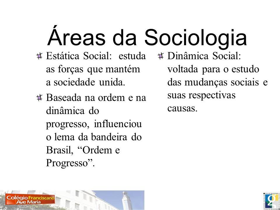 Áreas da Sociologia Estática Social: estuda as forças que mantém a sociedade unida.