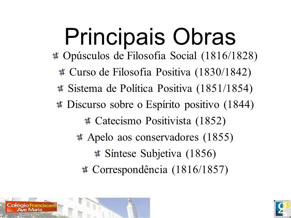Principais Obras Opúsculos de Filosofia Social (1816/1828)