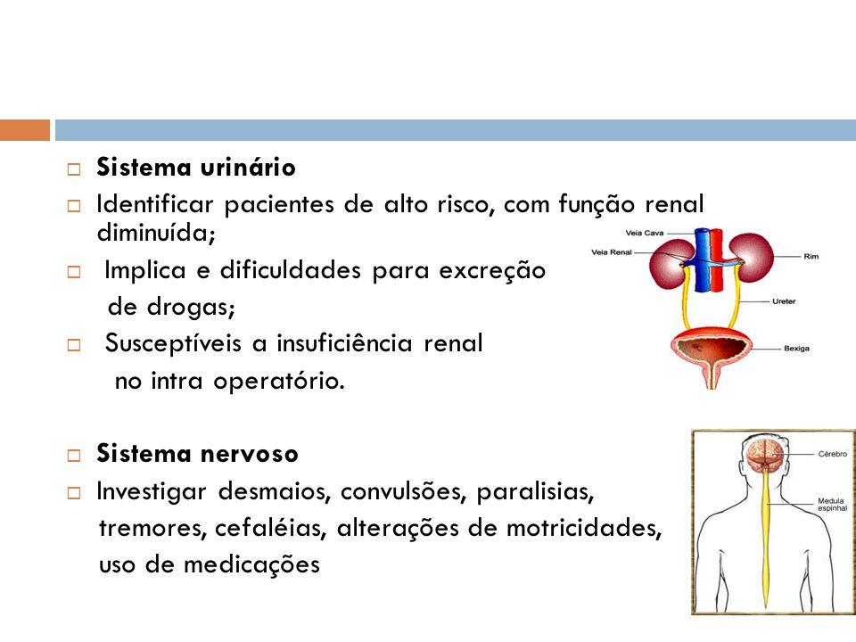 Sistema urinário Identificar pacientes de alto risco, com função renal diminuída; Implica e dificuldades para excreção.