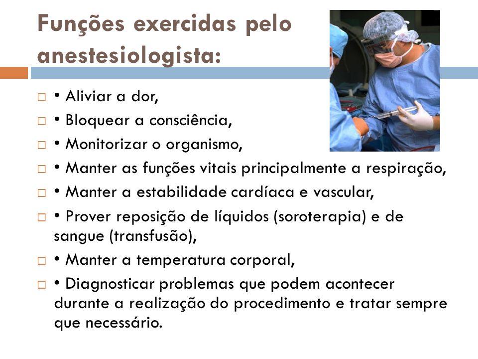 Funções exercidas pelo anestesiologista: