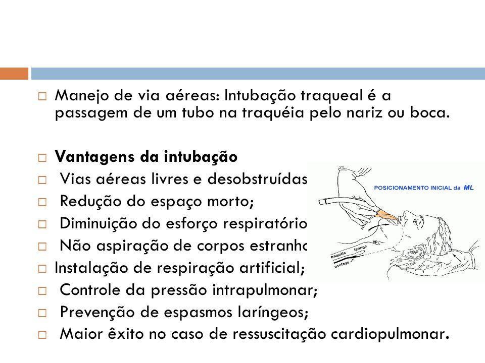 Manejo de via aéreas: Intubação traqueal é a passagem de um tubo na traquéia pelo nariz ou boca.