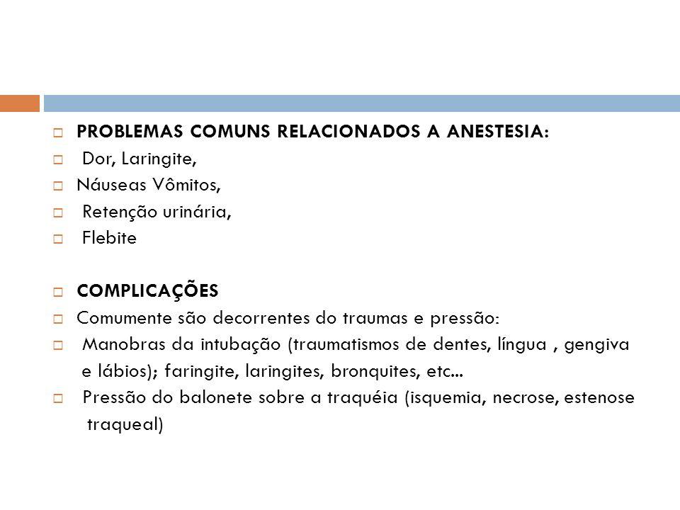 PROBLEMAS COMUNS RELACIONADOS A ANESTESIA: