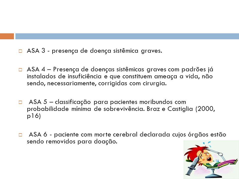 ASA 3 - presença de doença sistêmica graves.
