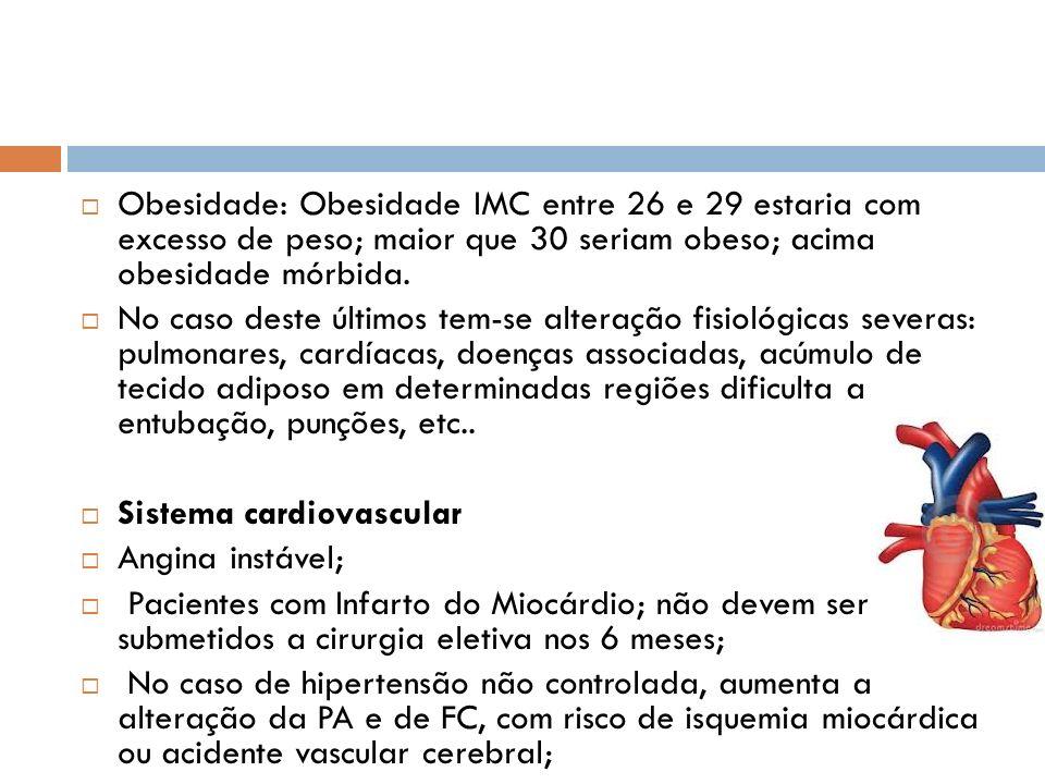 Obesidade: Obesidade IMC entre 26 e 29 estaria com excesso de peso; maior que 30 seriam obeso; acima obesidade mórbida.