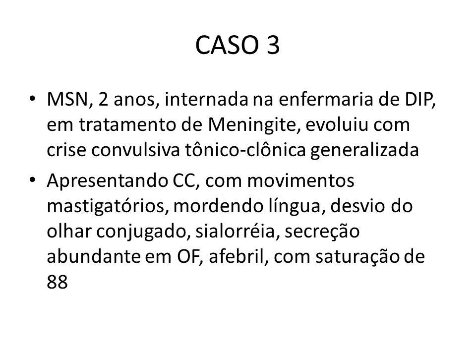 CASO 3 MSN, 2 anos, internada na enfermaria de DIP, em tratamento de Meningite, evoluiu com crise convulsiva tônico-clônica generalizada.