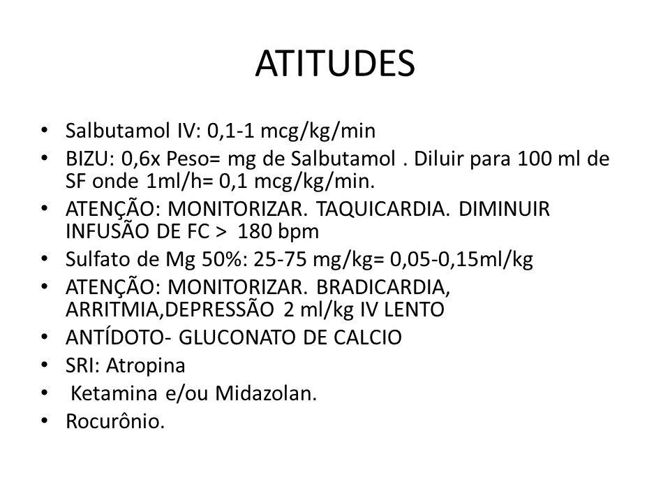 ATITUDES Salbutamol IV: 0,1-1 mcg/kg/min