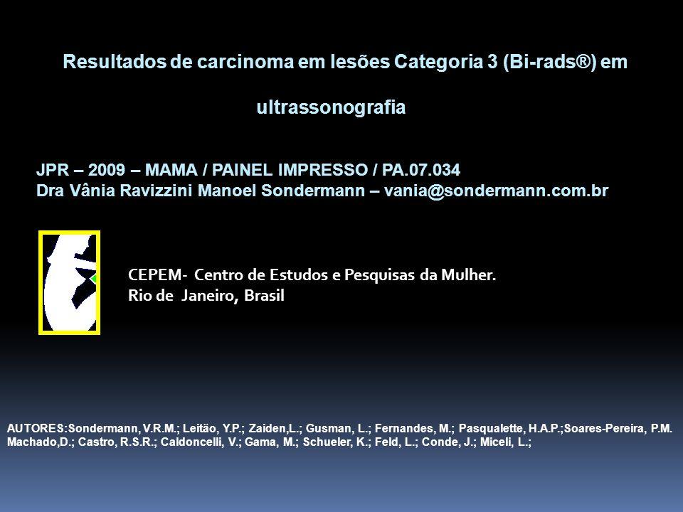 Resultados de carcinoma em lesões Categoria 3 (Bi-rads®) em