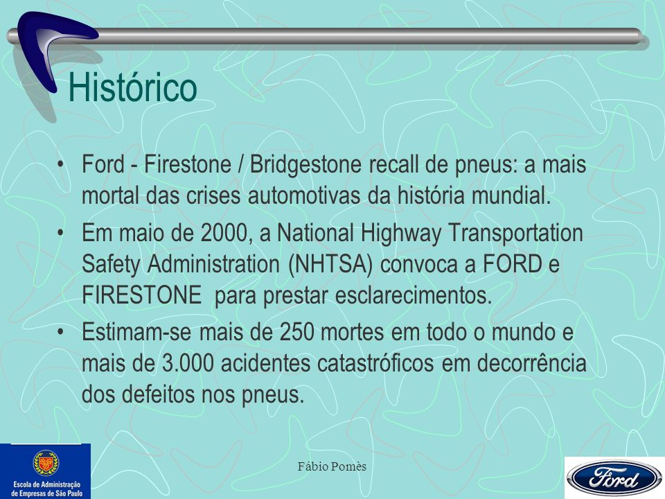 Histórico Ford - Firestone / Bridgestone recall de pneus: a mais mortal das crises automotivas da história mundial.
