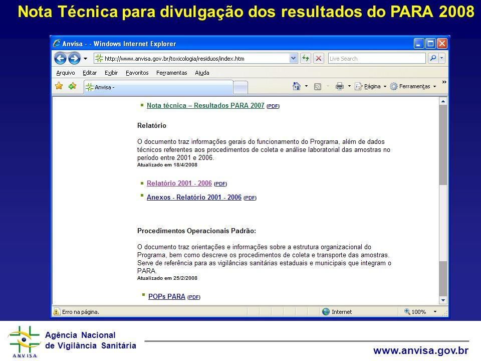 Nota Técnica para divulgação dos resultados do PARA 2008