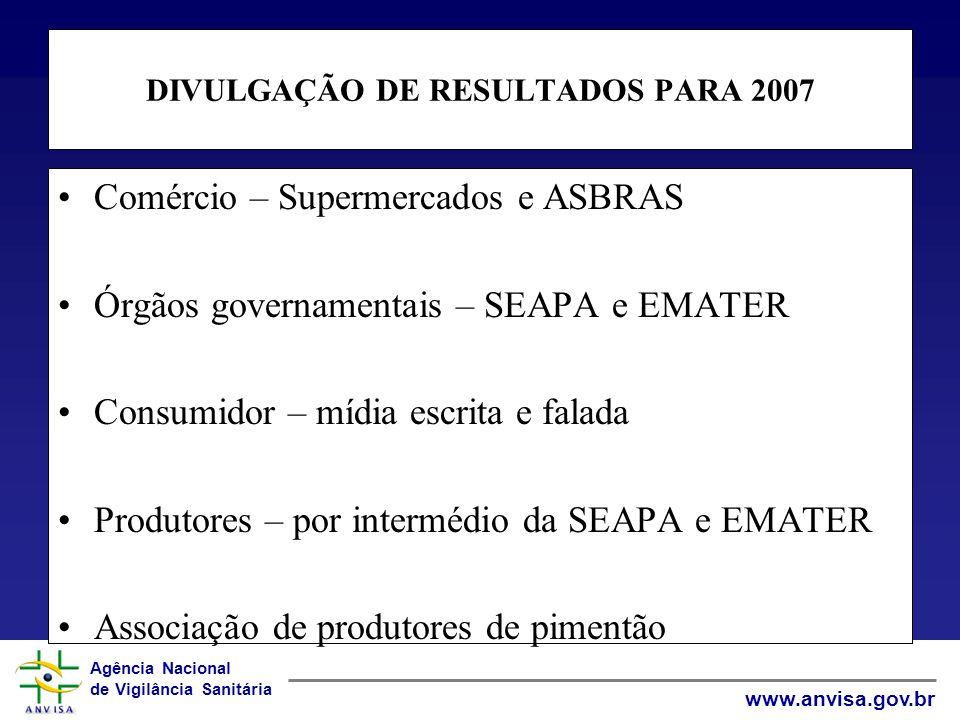 DIVULGAÇÃO DE RESULTADOS PARA 2007