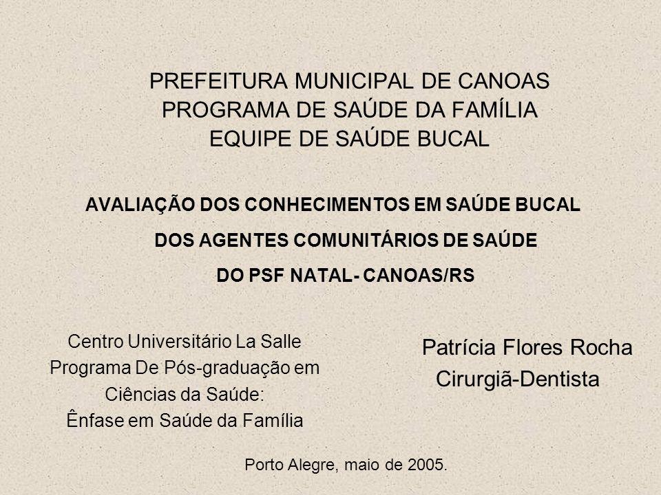 PREFEITURA MUNICIPAL DE CANOAS PROGRAMA DE SAÚDE DA FAMÍLIA EQUIPE DE SAÚDE BUCAL