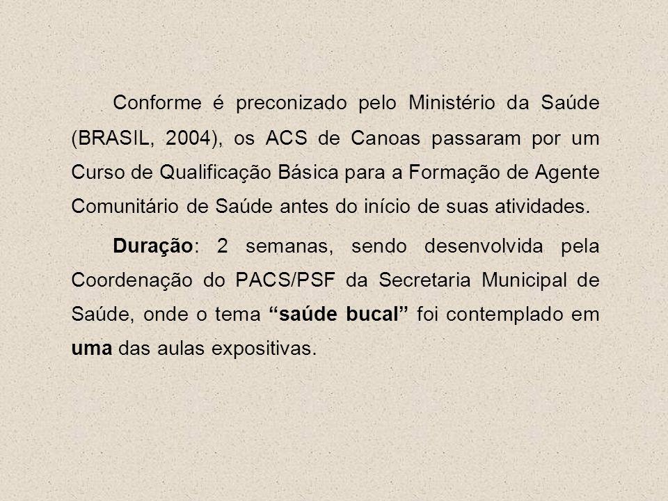 Conforme é preconizado pelo Ministério da Saúde (BRASIL, 2004), os ACS de Canoas passaram por um Curso de Qualificação Básica para a Formação de Agente Comunitário de Saúde antes do início de suas atividades.