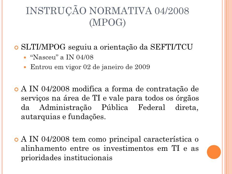 INSTRUÇÃO NORMATIVA 04/2008 (MPOG)