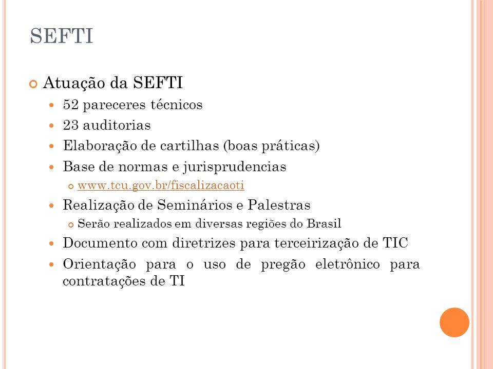 SEFTI Atuação da SEFTI 52 pareceres técnicos 23 auditorias