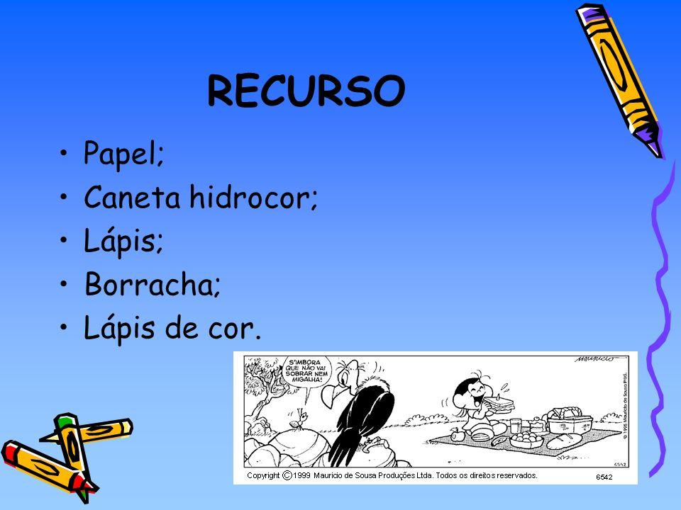 RECURSO Papel; Caneta hidrocor; Lápis; Borracha; Lápis de cor.