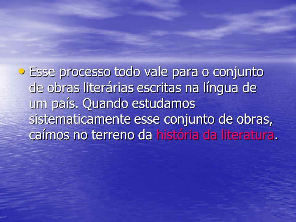 Esse processo todo vale para o conjunto de obras literárias escritas na língua de um país.