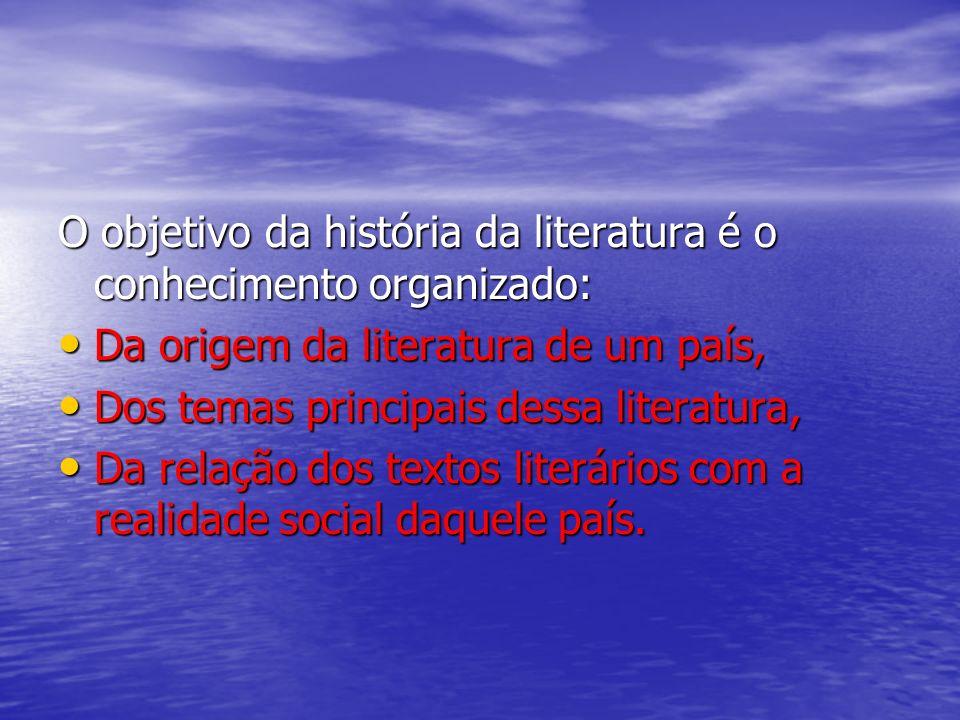 O objetivo da história da literatura é o conhecimento organizado: