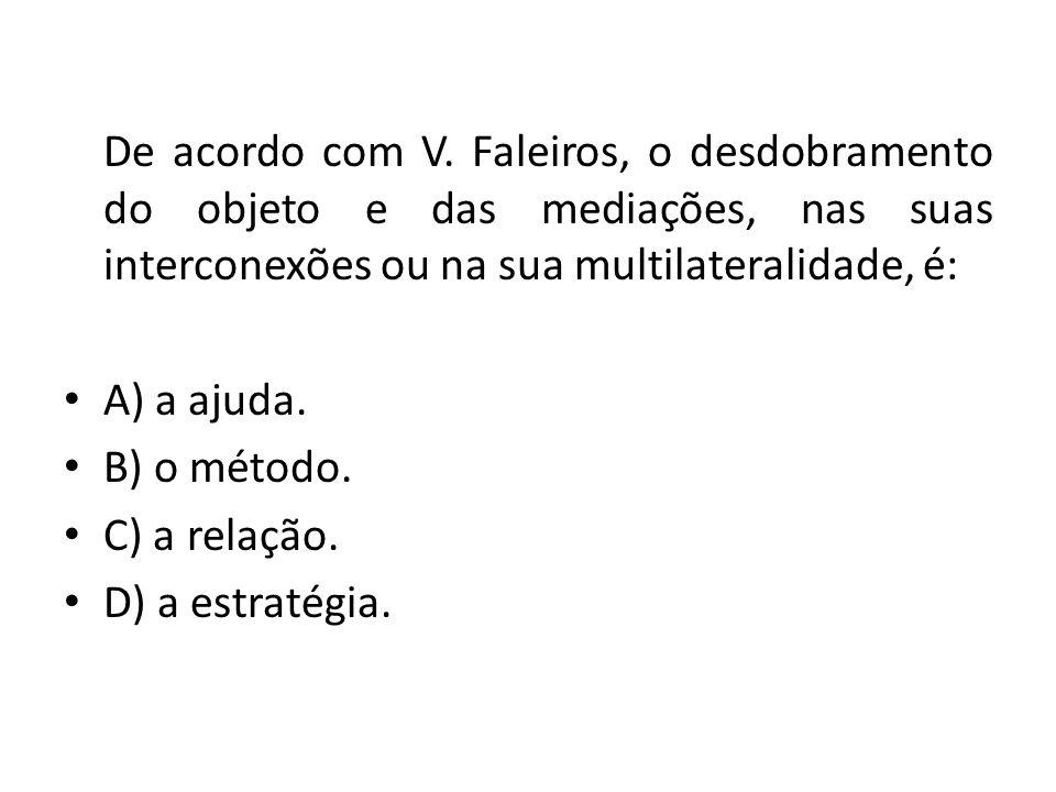 De acordo com V. Faleiros, o desdobramento do objeto e das mediações, nas suas interconexões ou na sua multilateralidade, é: