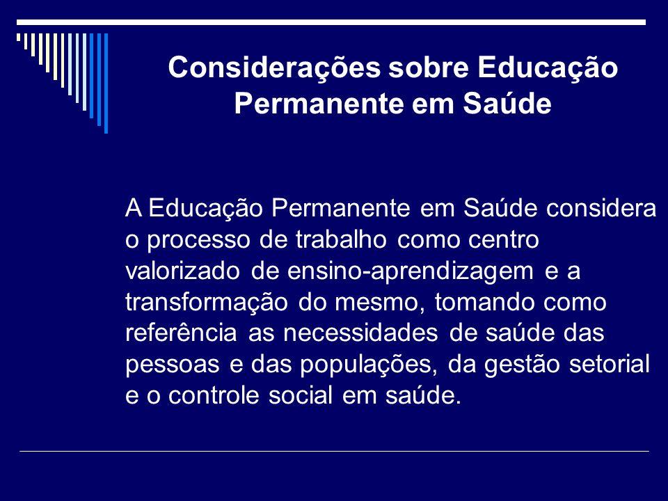 Considerações sobre Educação Permanente em Saúde