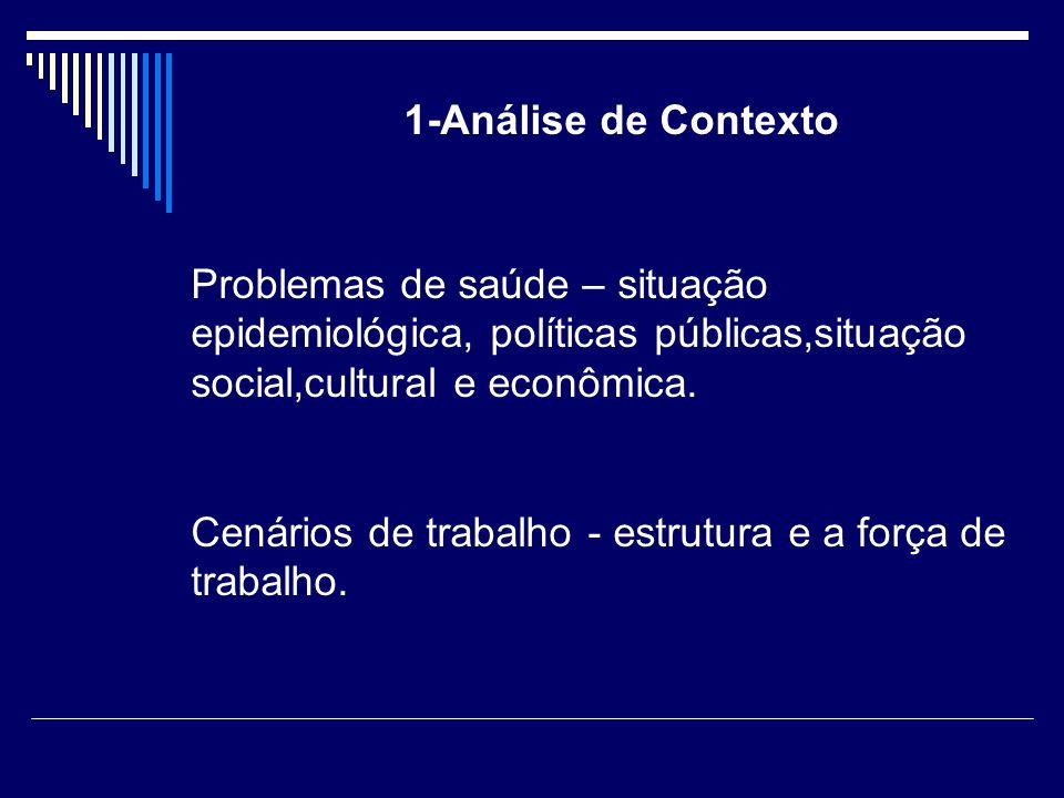1-Análise de Contexto Problemas de saúde – situação epidemiológica, políticas públicas,situação social,cultural e econômica.