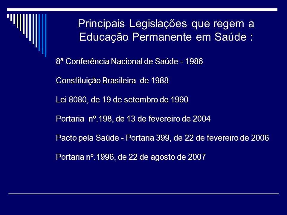 Principais Legislações que regem a Educação Permanente em Saúde :