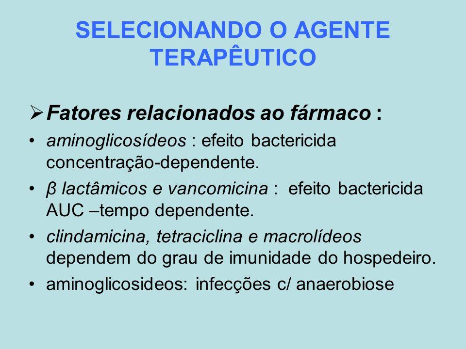 SELECIONANDO O AGENTE TERAPÊUTICO