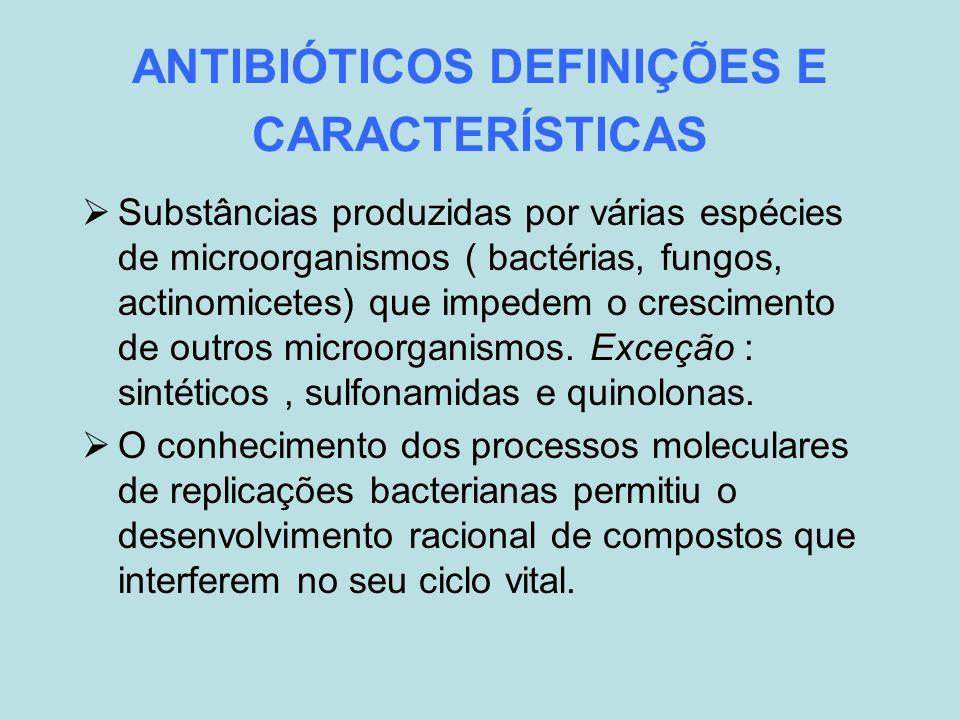 ANTIBIÓTICOS DEFINIÇÕES E CARACTERÍSTICAS