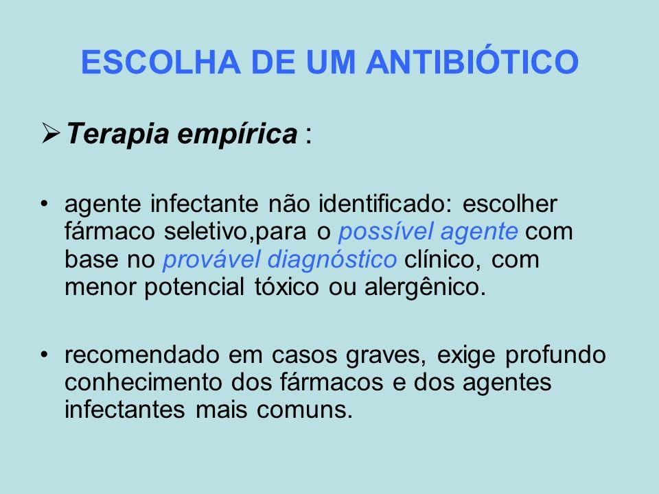 ESCOLHA DE UM ANTIBIÓTICO
