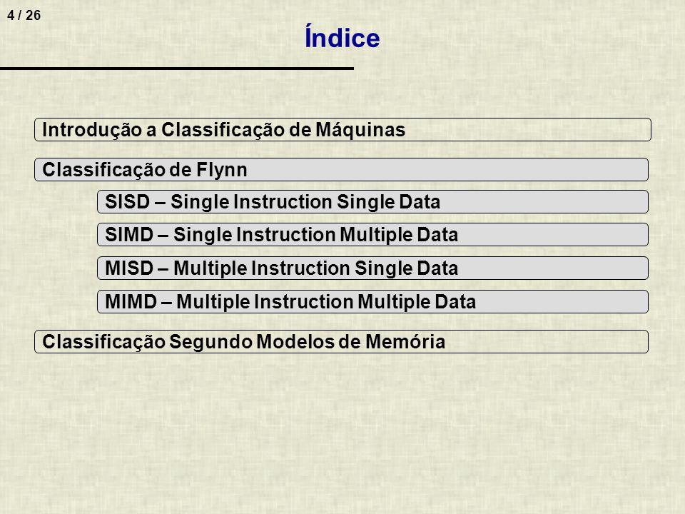 Índice Introdução a Classificação de Máquinas Classificação de Flynn
