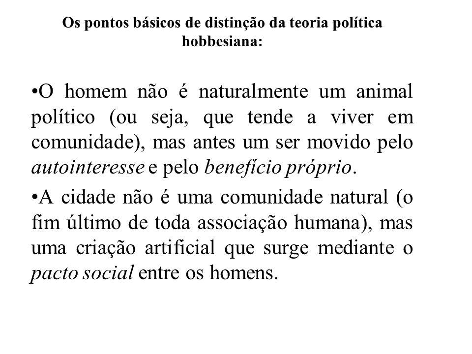 Os pontos básicos de distinção da teoria política hobbesiana: