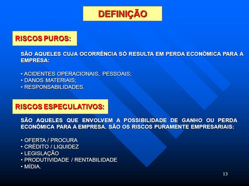 DEFINIÇÃO RISCOS PUROS: RISCOS ESPECULATIVOS: