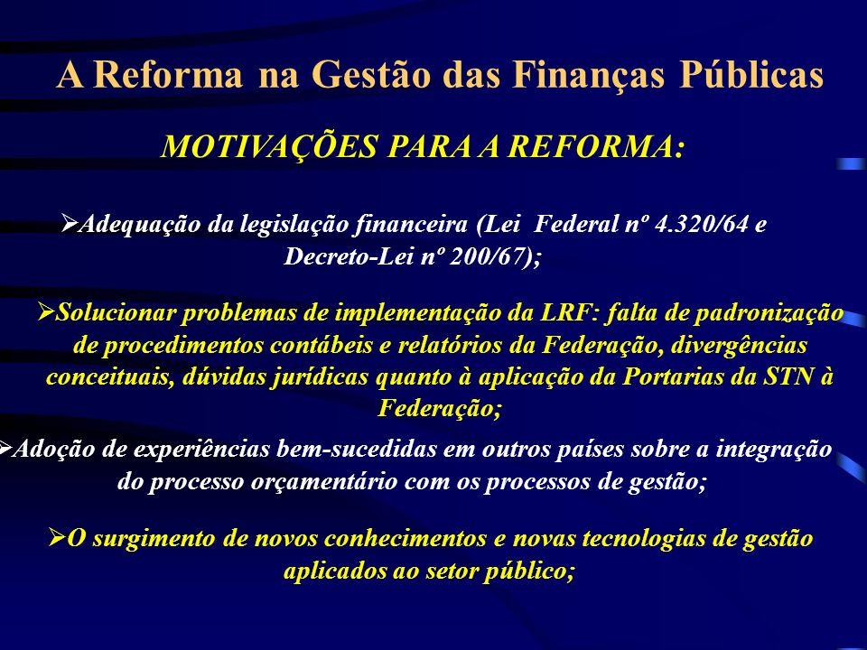 A Reforma na Gestão das Finanças Públicas MOTIVAÇÕES PARA A REFORMA: