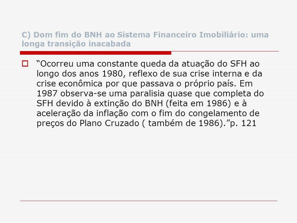 C) Dom fim do BNH ao Sistema Financeiro Imobiliário: uma longa transição inacabada