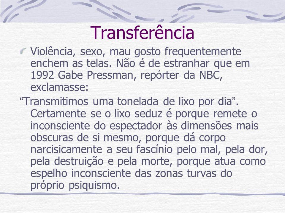 Transferência Violência, sexo, mau gosto frequentemente enchem as telas. Não é de estranhar que em 1992 Gabe Pressman, repórter da NBC, exclamasse: