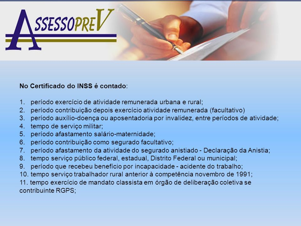 No Certificado do INSS é contado:
