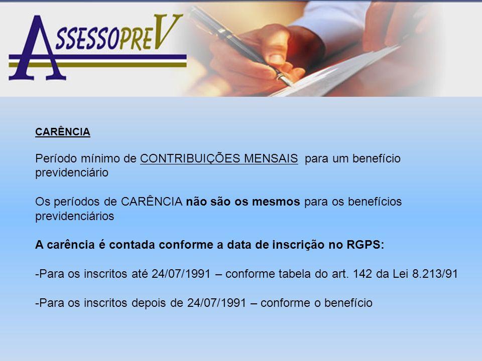 A carência é contada conforme a data de inscrição no RGPS: