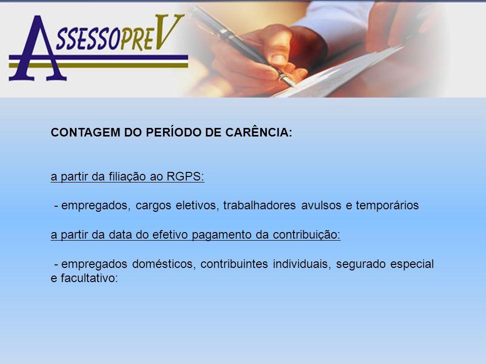 CONTAGEM DO PERÍODO DE CARÊNCIA:
