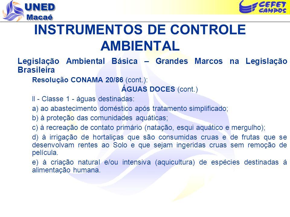 INSTRUMENTOS DE CONTROLE AMBIENTAL