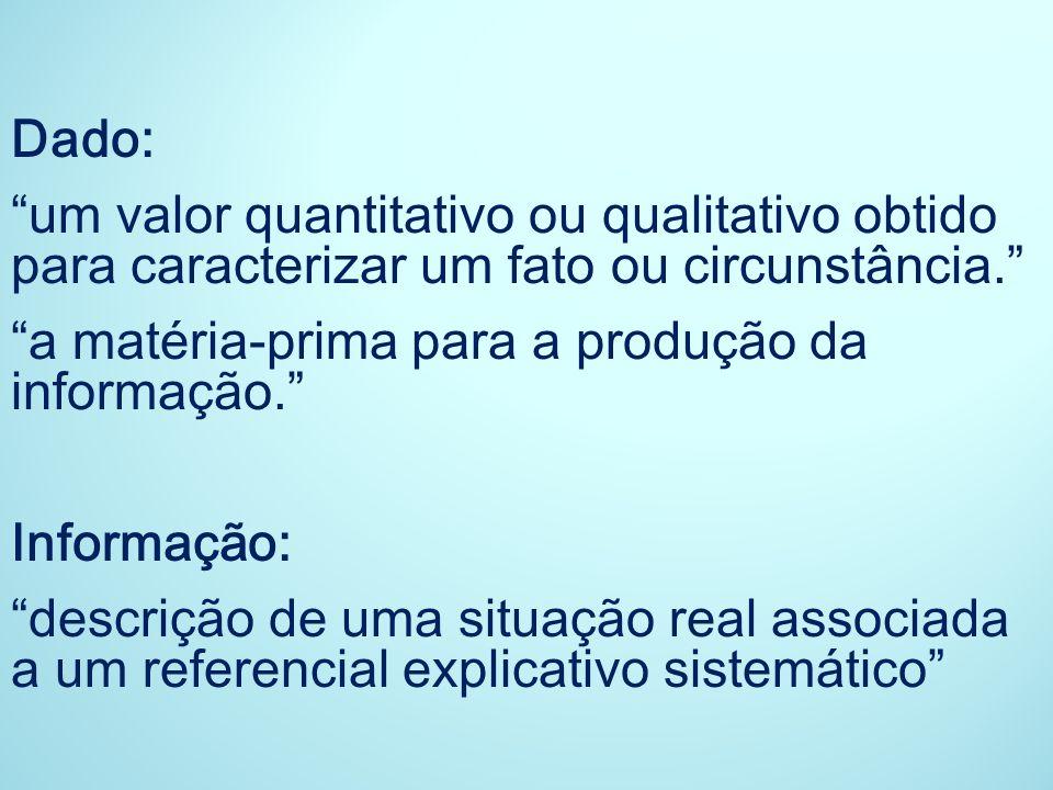 Dado: um valor quantitativo ou qualitativo obtido para caracterizar um fato ou circunstância. a matéria-prima para a produção da informação.