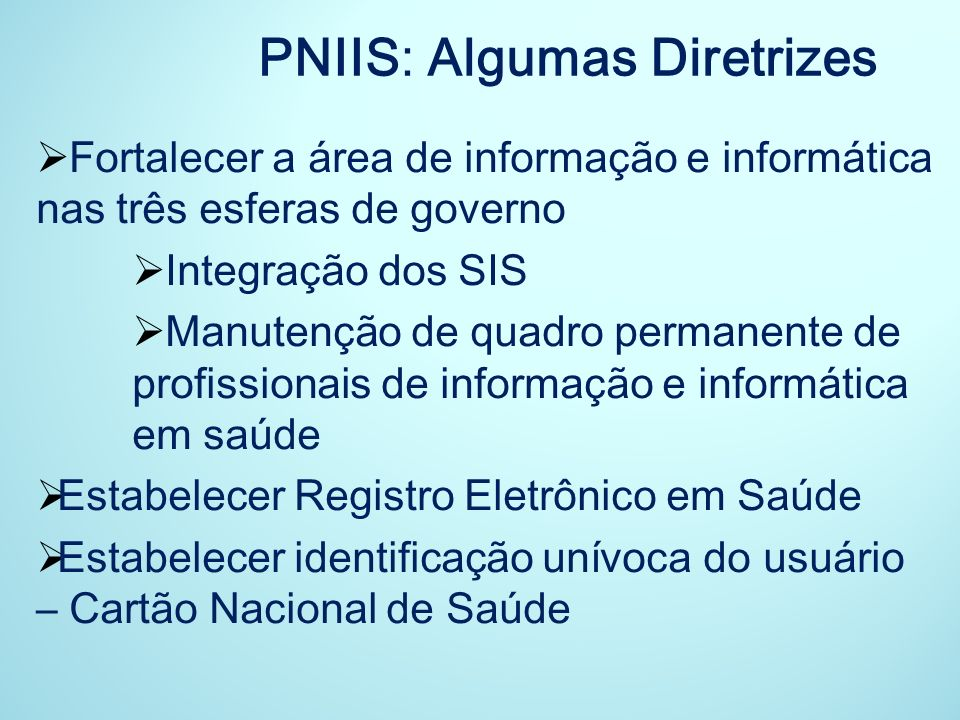 PNIIS: Algumas Diretrizes