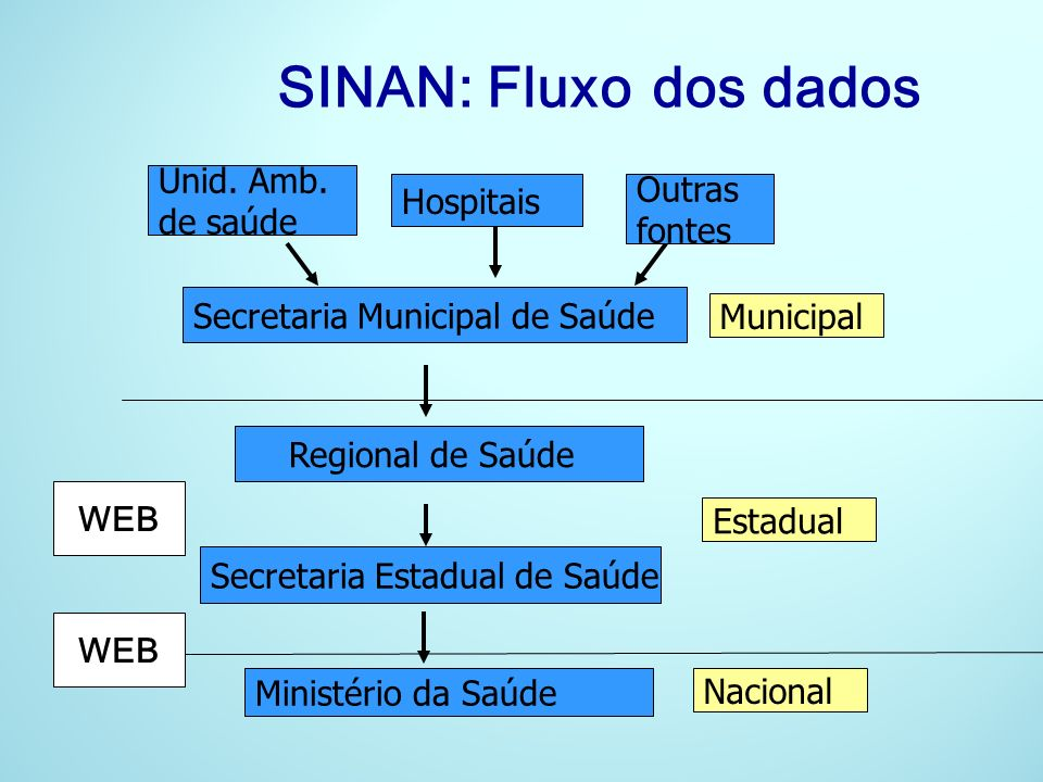 SINAN: Fluxo dos dados WEB Unid. Amb. Outras Hospitais de saúde fontes