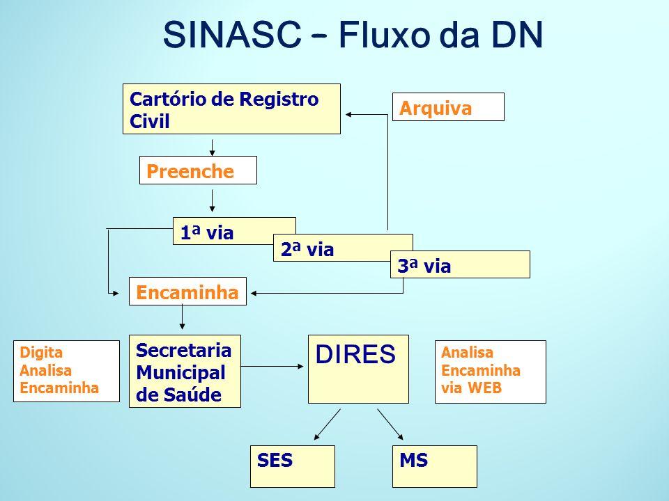 SINASC – Fluxo da DN DIRES Cartório de Registro Civil Arquiva Preenche